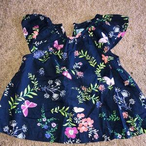Flower and butterfly flutter sleeve shirt